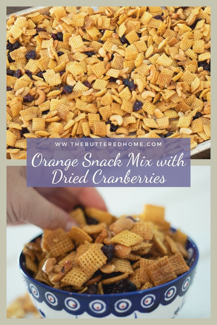 Orange snack mix with dried cranberries and nuts is the perfect amount of sweet with a touch of tang. A quick and easy go to snack recipe. You can bag this up and take it with you wherever you are headed!
