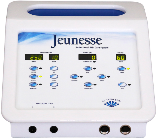 Jeunesse Microcurrent System - will safely and effectively improve the health and appearance of the skin by increasing the natural production of elastin, collagen, and circulation.