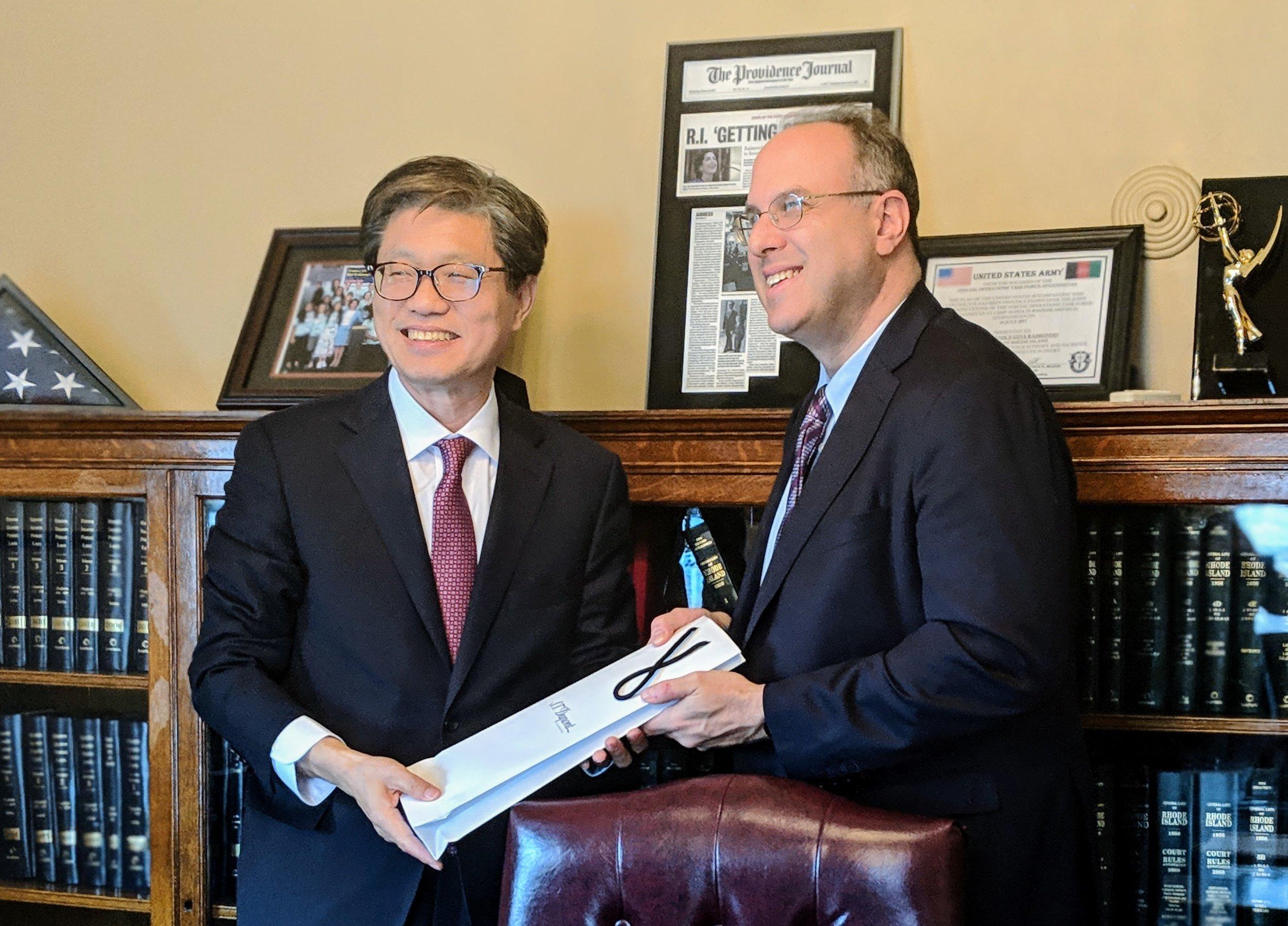 Deog-Seong Oh, Ph.D., President of Chungnam National University and Stefan Pryor, Rhode Island Secretary of Commerce