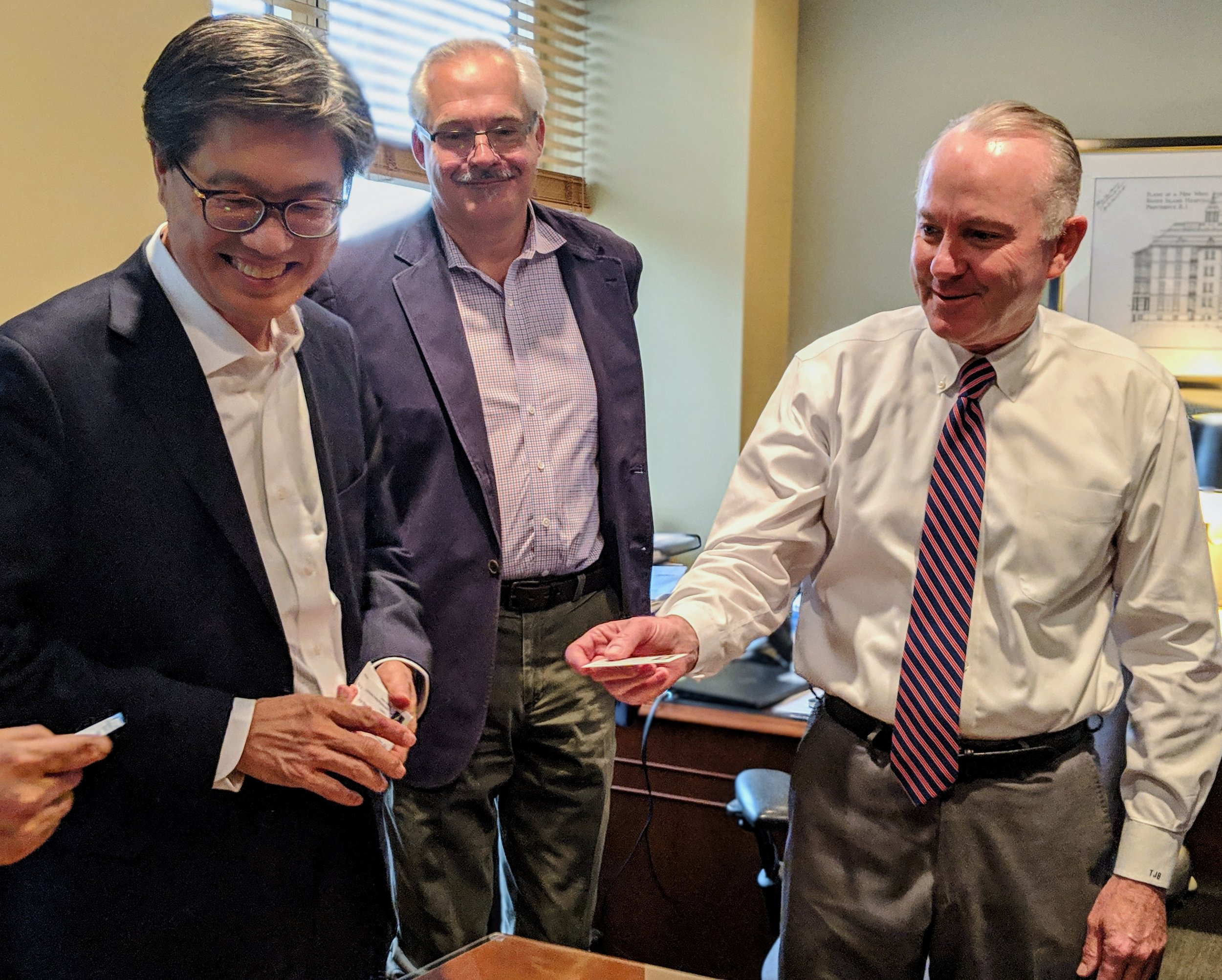Deog-Seong Oh, Ph.D., President of Chungnam National University, Aidan Petrie, NEMIC Managing Partner, and Timothy Babineau, MD, President of Lifespan Health System