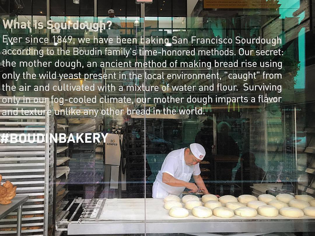 Baking sourdough bread in the window of the Boudin Bakery.  -  #california #sanfranciso #madeinsf #sourdough  (at Fisherman's Wharf)