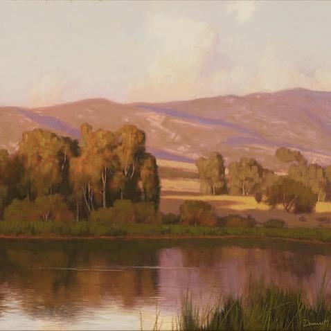 Evening Reflections on Lake Carneros, 1999  By Dennis M. Doheny (b.1956)  Oil on Masonite   -  #painting #art #americanart #californiapleinair #bonhams