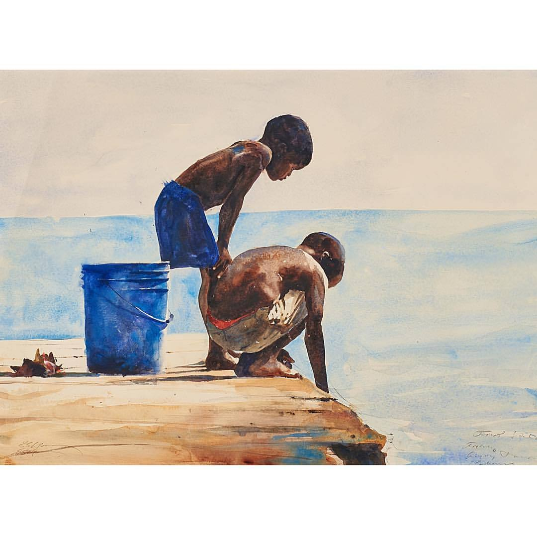 First Study, Fishing, Bahamas   Stephen Scott Young, American (b. 1957)  Watercolor on paper  -  #art #americanart #watercolor #rago
