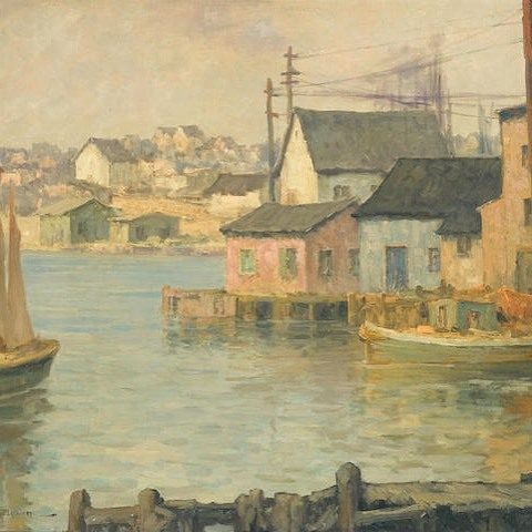 Waterfront Buildings  By Maurice Braun, American (1877-1941)  Oil on canvas   -  #art #painting #americanart #bonhams