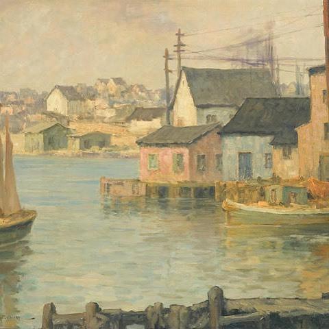 Waterfront Buildings  By Maurice Braun, American (1877-1941)  Oil on canvas   -  #art #painting #americanart #bonhams