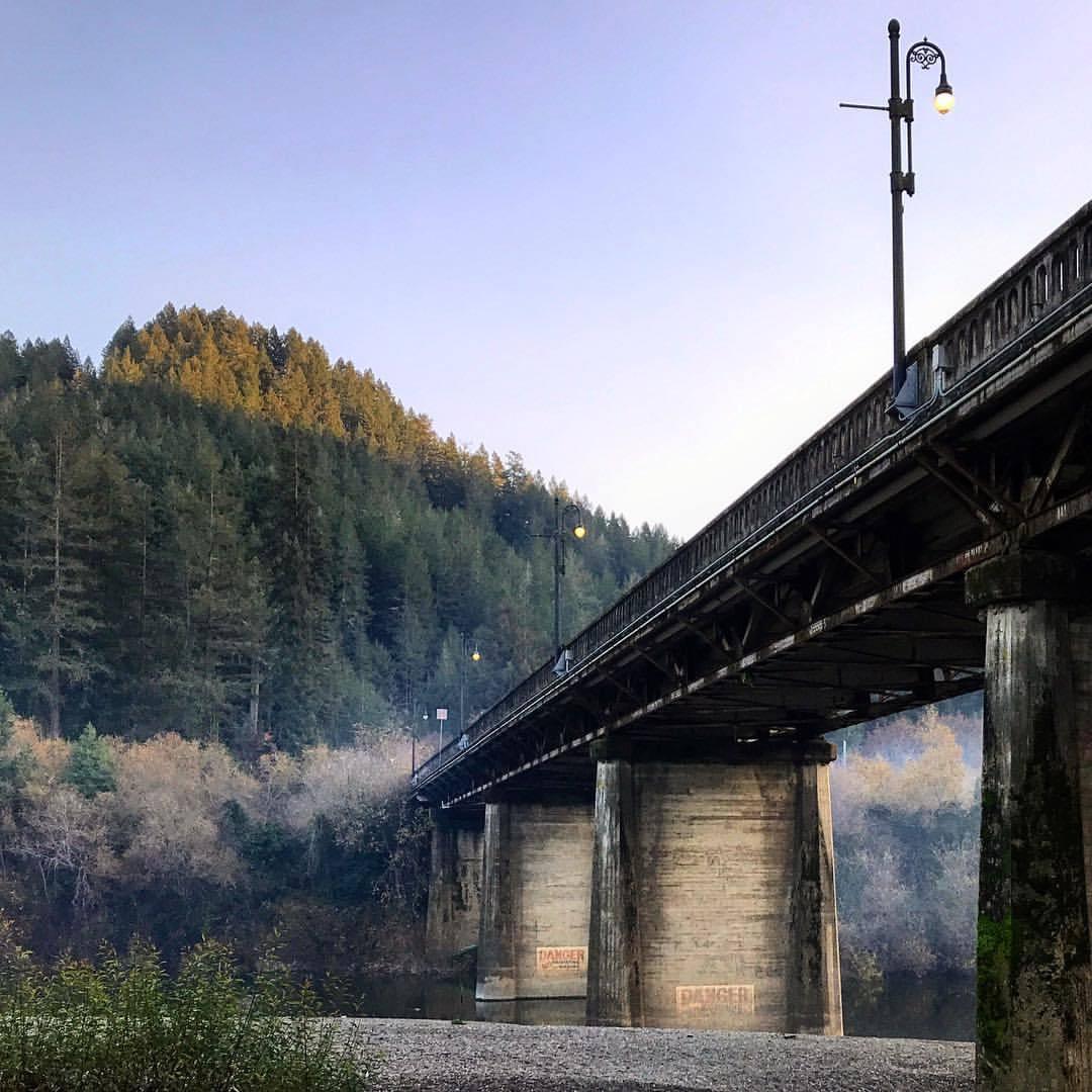 The Monte Rio Bridge straddling the Russian River.  -  #california #ilovecalifornia #bridge #sonomacounty  (at Guerneville, California)