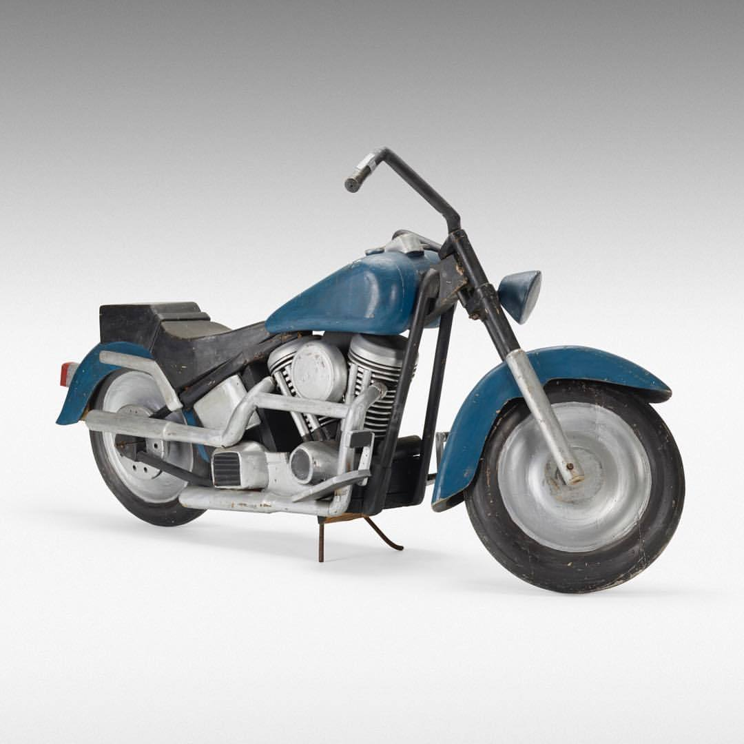 Folk art.  Full scale carved and painted wood.  Inspired by Harley-Davidson Softail.  American, 1975  -  #art #folkart #americana @wrightauction