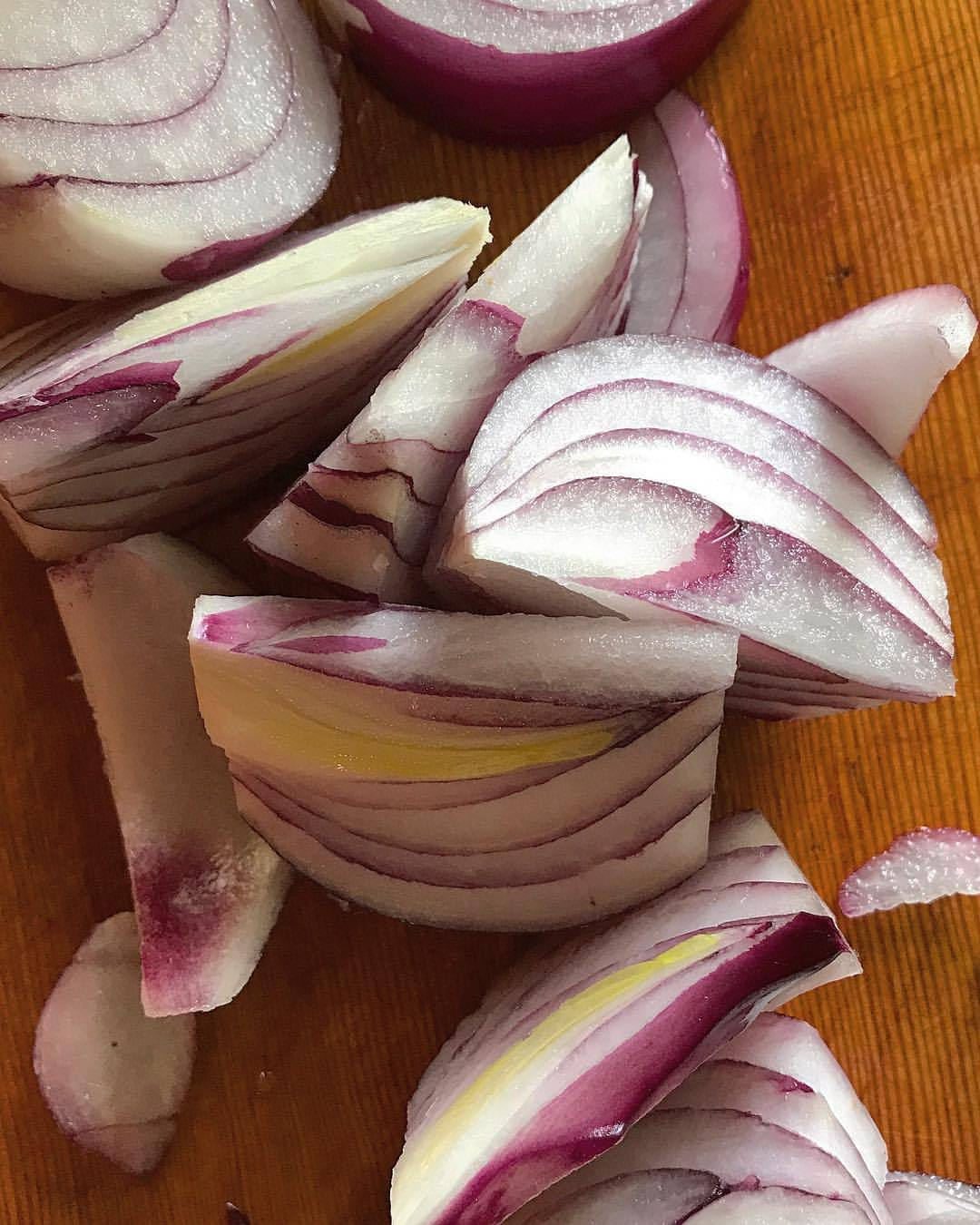 Red onion (Allium cepa).  #onion #allium #vegetables  (at At Home in Napa)