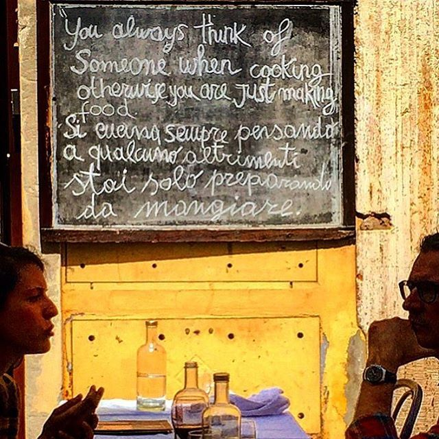 """""""You always think of someone when cooking, otherwise you're just making food.""""  #italy #rome #food #cooking (at Rome, Italy)"""