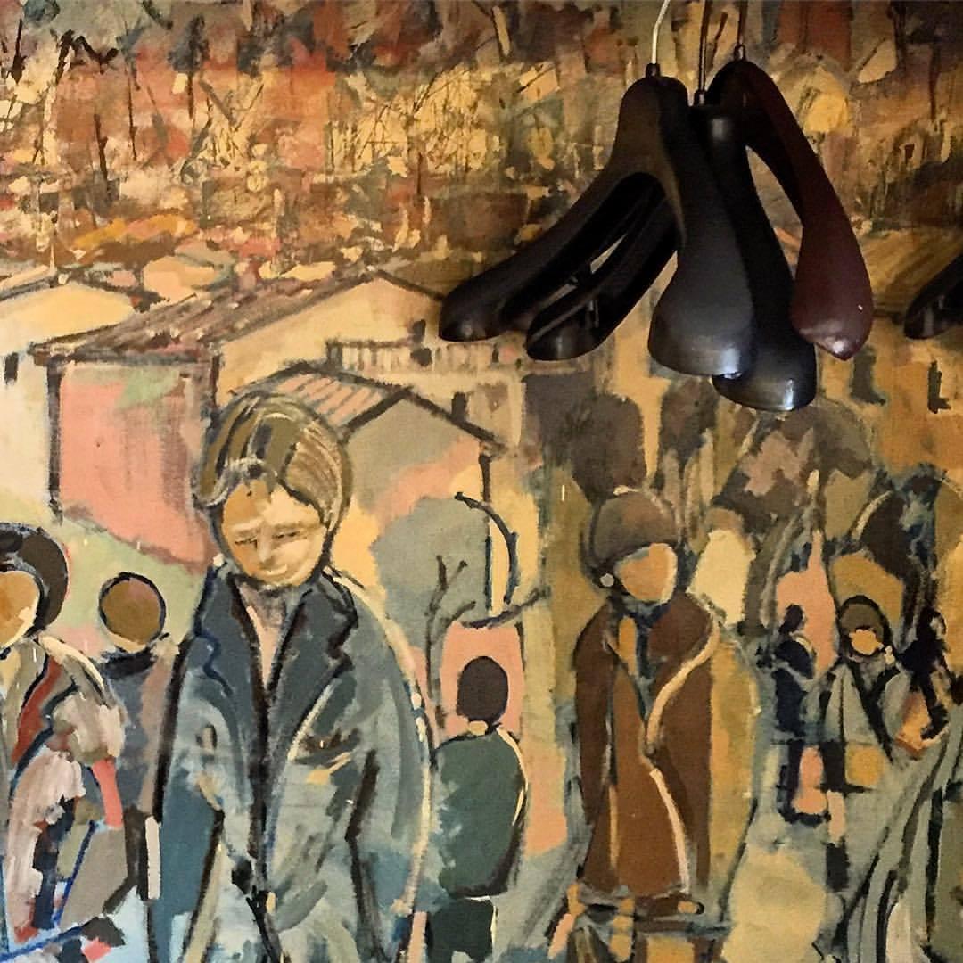 Mural in the coat closet.  #italy #artisallaroundus  (at Mondovì, Italia)
