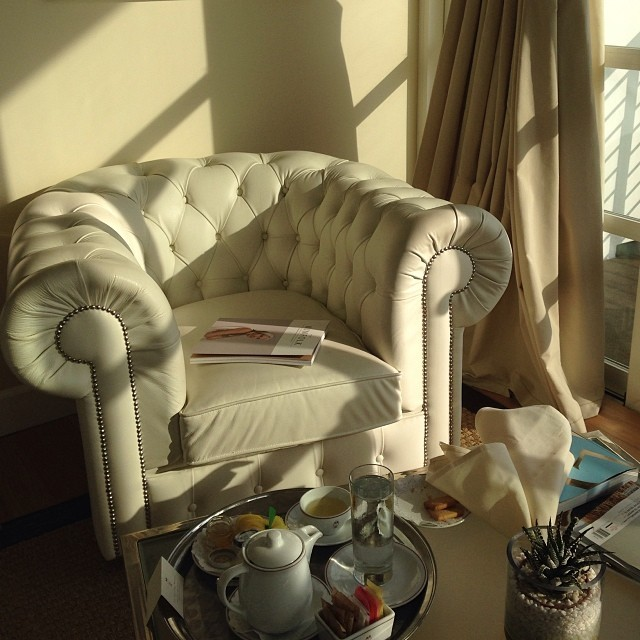 Afternoon tea and shortbread delivered to a sunny, quiet nook; a favorite indulgence.