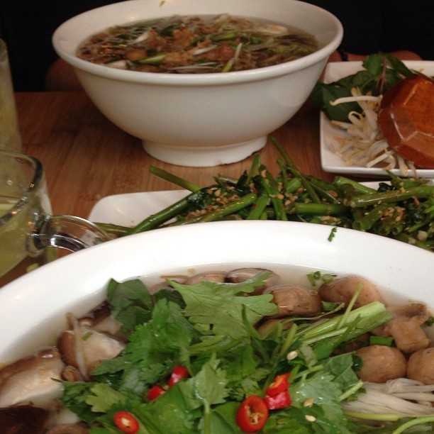 Big bowls of spicy, steaming mushroom pho to ward off London's chilly drizzle… (at Pho)
