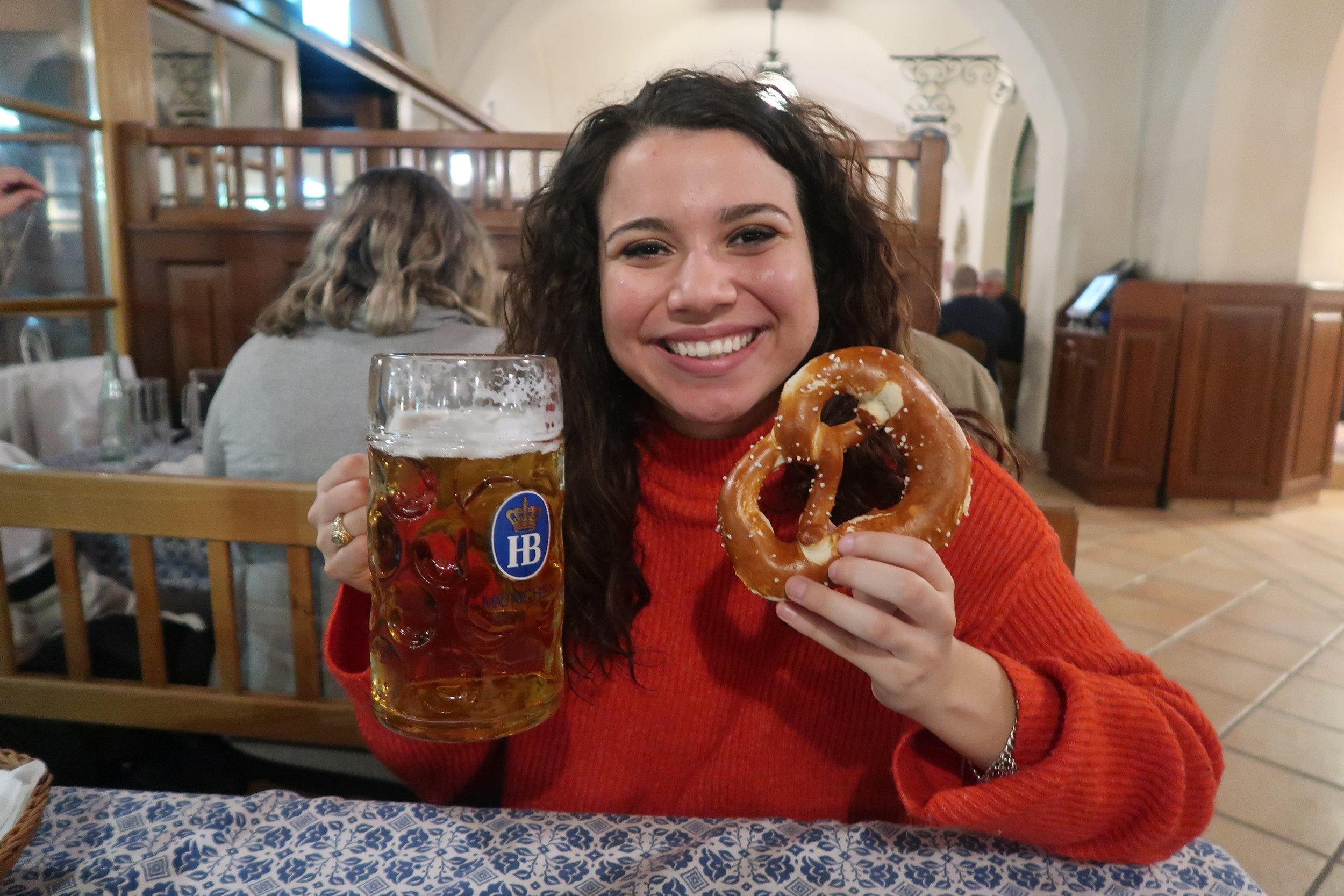 munich pretzel and beer