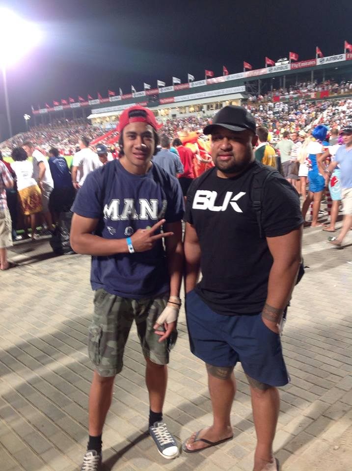 Charlie Tupu (L) received a full scholarship to attend and play at the Dubai International Rugby 7s - playing for our Dubai-based team, MANA Dubai (2013)