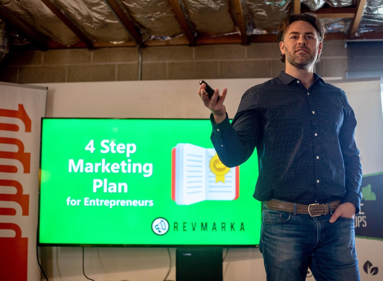 Eric Dahl presenting the 4 Step Marketing Plan for Entrepreneurs. Aug. 15, 2018 (photo credit: C. Federer)