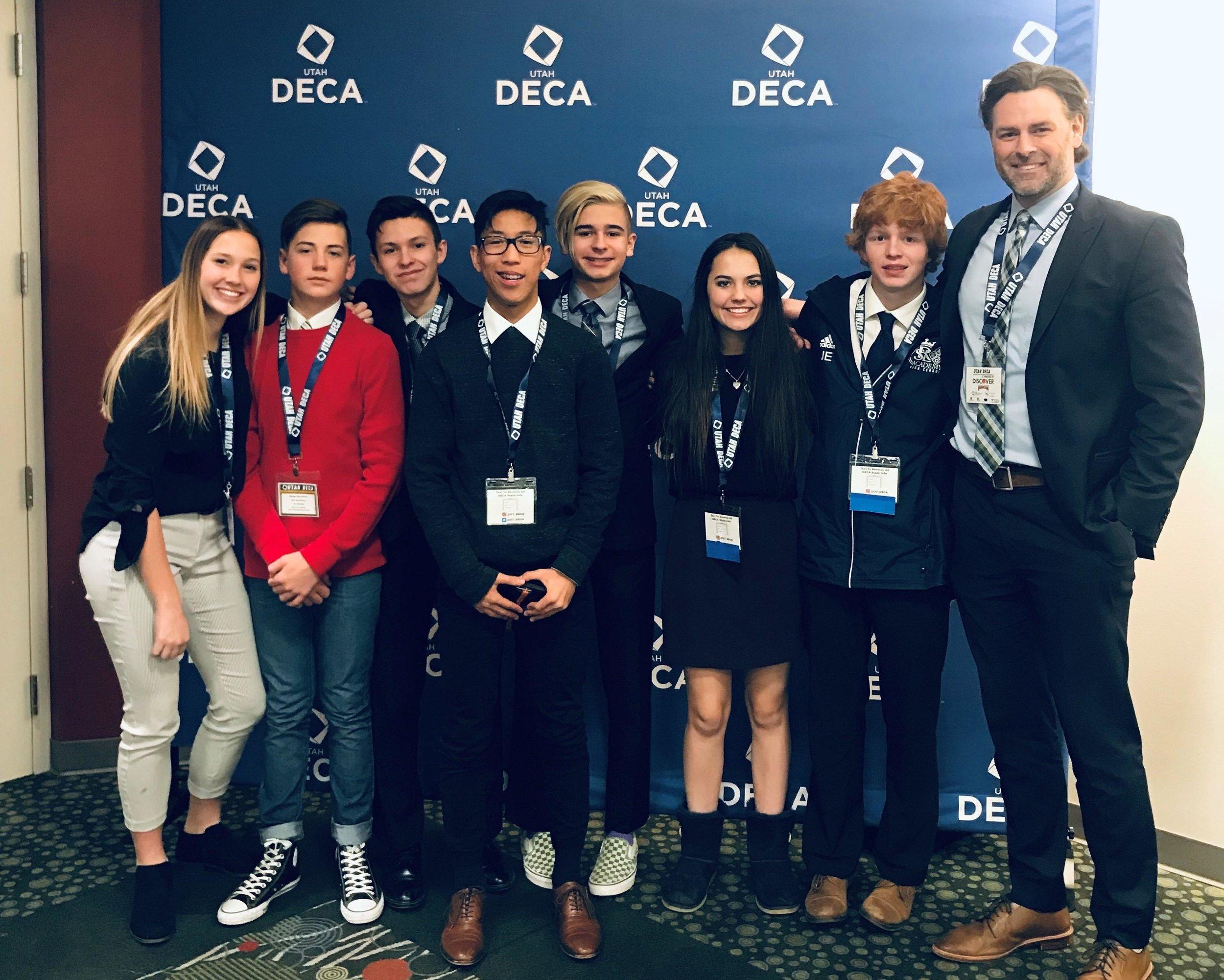 Eric Dahl with Utah DECA students.