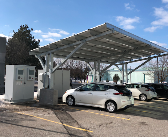 Solar Carport, Battery, Level 2 and Level 3 Bidirectional EV Chargers at Sky Offices, Markham