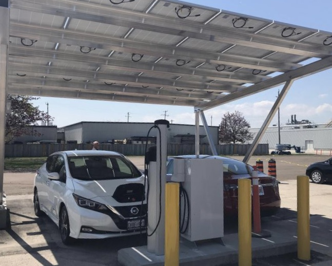 sustainable EV Charging - 6.03 kW Solar Carport, 6 kW Level 3 Bidirectional Charger in Cobourg, Ontario