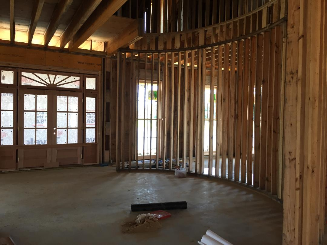 Foyer - the custom designed curved staircase will be constructed off-site and installed once completed.