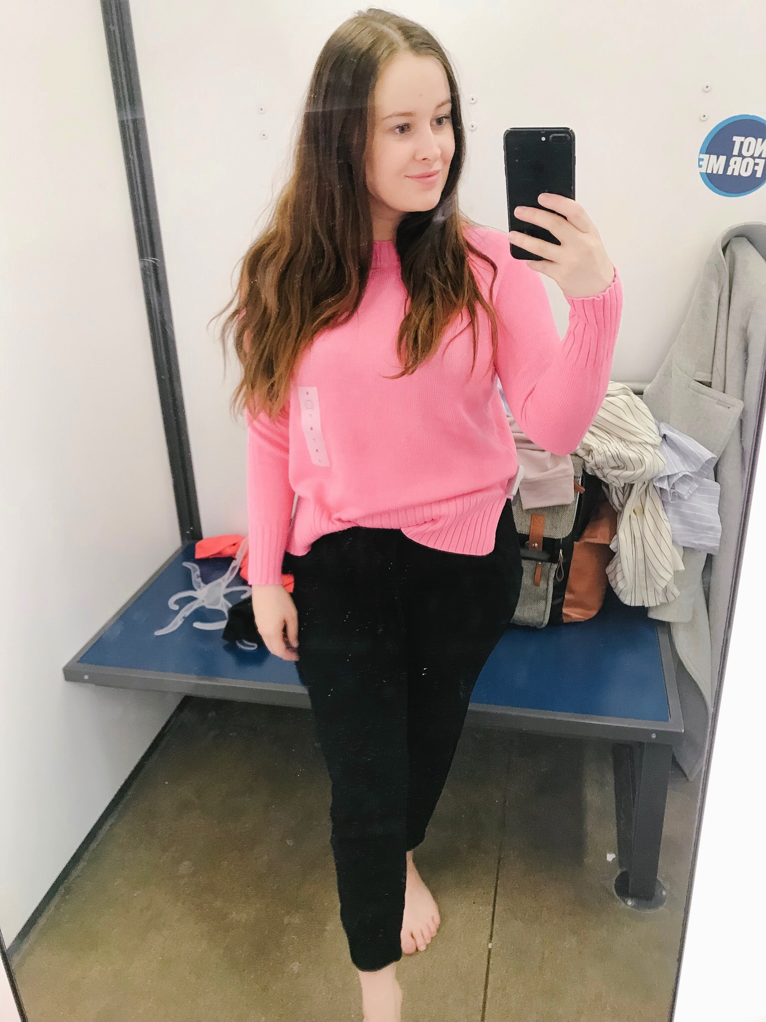 - This sweater is very similar to the first one I tried on, besides the colour block. The material was a bit thicker than the first. It was still super warm and I love it tucked into my joggers (not from old navy), it would also be really cute with jeans. The fit is true to size, I am wearing a small.