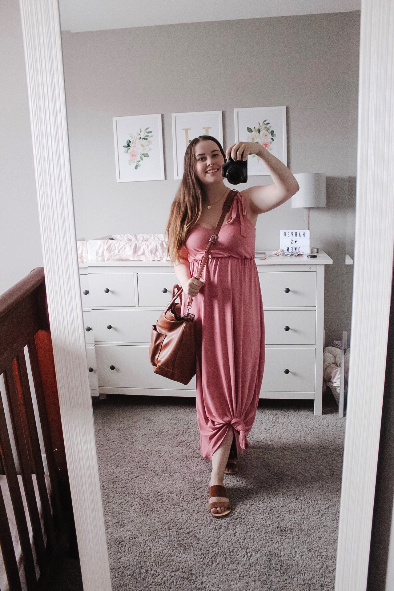 I tied the bottom, paired the dress with some brown slides and grabbed a diaper bag and this is a great casual look for everyday!