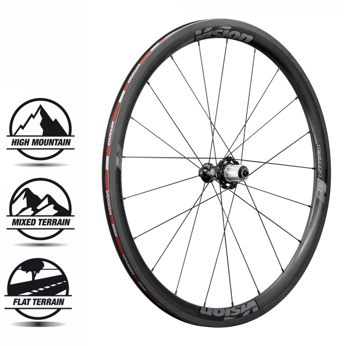 Metron 40 SL Clincher - The Metron 40 SL is Vision's climbing and CX focused wheelset. Vision's complete wheel system has a 24.8mm rim width, direct pull bladed spokes, 6 sealed cartridge bearings in P.R.A. hubs, ABS brass nipples, 2 to 1 lacing, CFD / wind tunnel proven aerodynamics, and 100+ pro-podiums since its release.