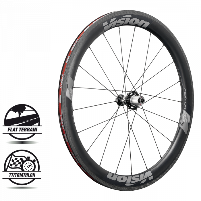 Metron 55 SL Clincher - The Metron 55 SL is Vision's Aero Stage Race wheelset. Vision's complete wheel system has a 25mm rim width, direct pull bladed spokes, 6 sealed cartridge bearings in P.R.A. hubs, ABS brass nipples, 2 to 1 lacing, CFD / wind tunnel proven aerodynamics, and 100+ pro-podiums since its release