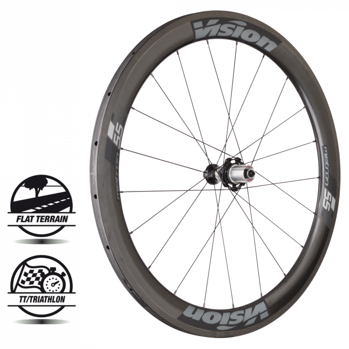 Metron 55 SL Tubular - The Metron 55 is Vision's Aero Stage Race wheelset. Vision's Metron 55 is the one wheel you'll ride once and won't want to ride without again. This Metron 55 sits comfortably in the mid-range of Vision's Metron rim depths, and offers the most versatility in the line up.