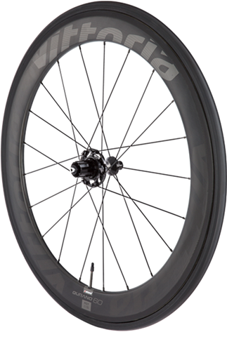 Qurano Carbon 46mm - Graphene-enhanced full carbon tubular wheel set, with Vittoria perfect match design. This unique tubular design has a Graphene-enforced brake track, asymmetrical 46mm deep rear rim for higher stiffness, 42mm deep front rim.