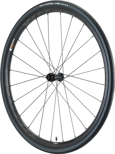 Qurano Carbon Disc 46mm - the versatile Full Carbon Clincher Disc wheel for climbing, gravel or just having fun. It has 30mm high and 25mm wide asymmetric rims front and rear with 24 double crossed Aero spokes