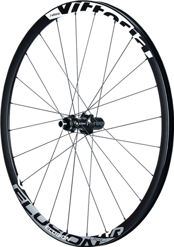 Elusion Disc - Performance alloy Road/Gravel Disc wheelset. 23mm wide asymmetric rims front and rear are Semi-aero shaped with 28mm height. Assembled on Vittoria Road Disc hubs with 12/100mm front and 12/142mm rear axle, Centerlock® disc mount (convertible to 6-bolt with adapter), compatible with SRAM, Campagnolo or Shimano cassette