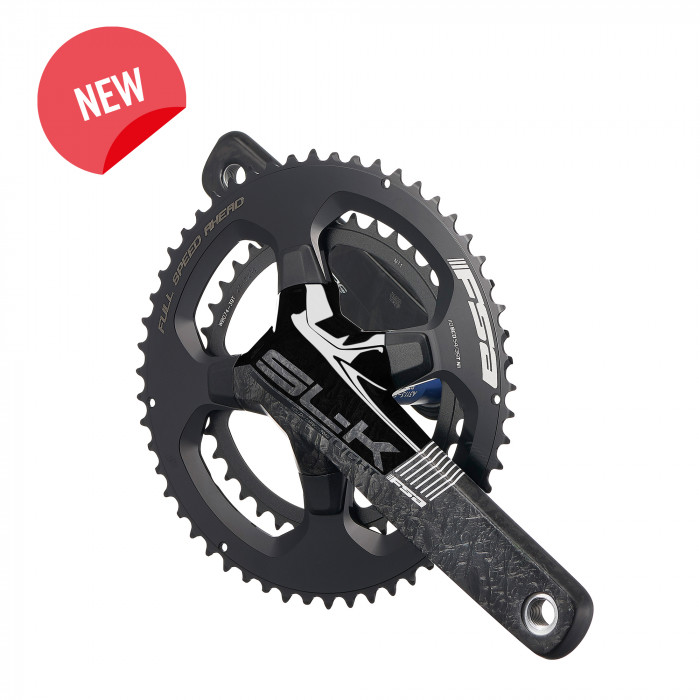 SL-K Light ABS BB386EVO - SL-K Light ABS BB386EVO road crankset features hollow carbon fiber arms for amazing stiffness and low weight. The adaptable BB386 EVO 30mm spindle will fit a wide variety of frames with a range of BB standards. SL-K Light ABS ABS BB386 EVO uses FSA's Asymmetric Bolt Standard, with four bolts. Choose from 53/39, 52/36, 50/34, or 46/36 gearing options. The unidirectional carbon finish, updated graphics, and concealed chainring bolts make the SL-K crankset look as fast as it is stiff.