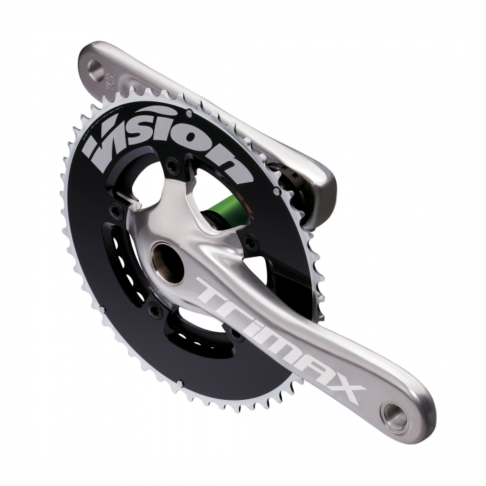 Trimax Compact Crankset - With broad arms and graceful curves, the Trimax Compact TT brings effective aerodynamics to an affordable alloy crankset. The chainrings are 7075 , ensuring low weight and good wear characteristics. As well as the conventional 50/34 compact setup, the Compact is also available with semi-compact 52/38 chainrings using the same BCD, a useful middle ground between compact and traditional chainring sizes