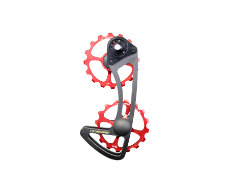 SRAM ETAP - Our oversized cage system for Sram ETAP combines two 16-tooth derailleur wheels made of machined aluminum in France.The cage is made of carbon UD coupled with titanium screws.Compatible with Sram ETAP groups only.