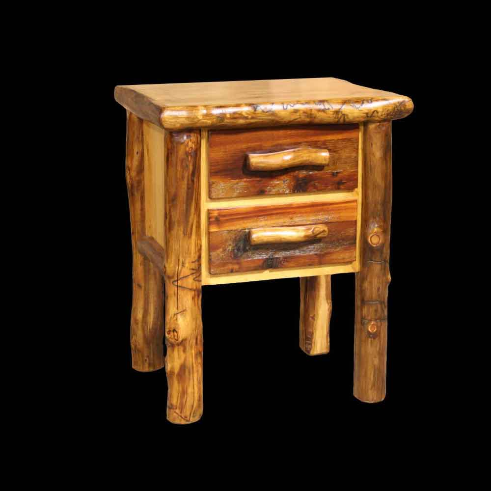 Aspen Nightstand with Barnwood Fronts - Optional Stain