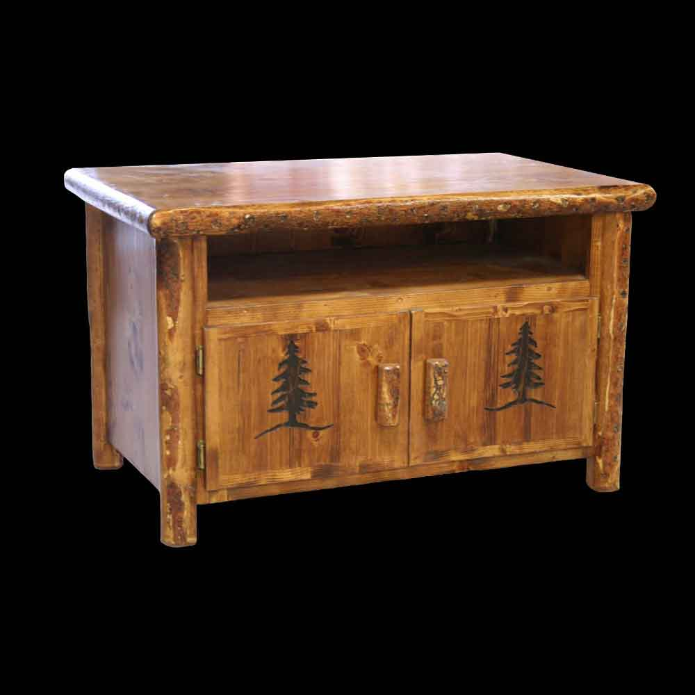 Rocky Mountain 2 Door Nightstand with Tree Carvings - Optional Stain