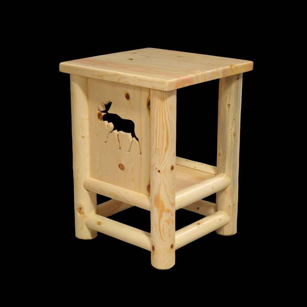 Slimline Endtable with Moose Carving
