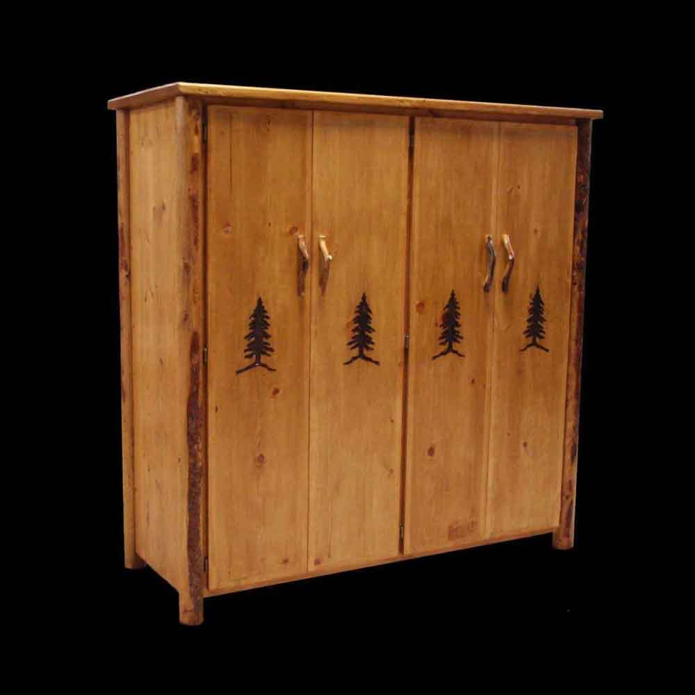 4 Door Wardrobe with Tree Carvings - Optional Stain