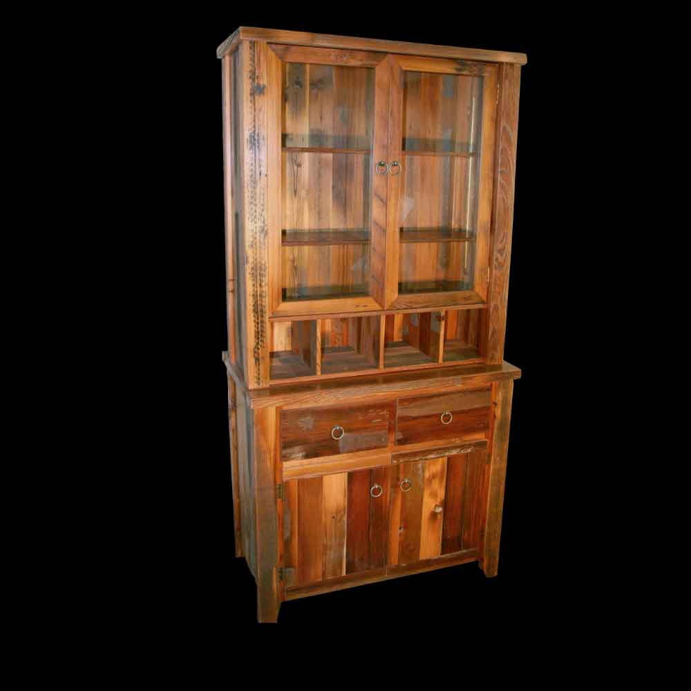 Single Barnwood Hutch with Glass Doors - Optional Stain
