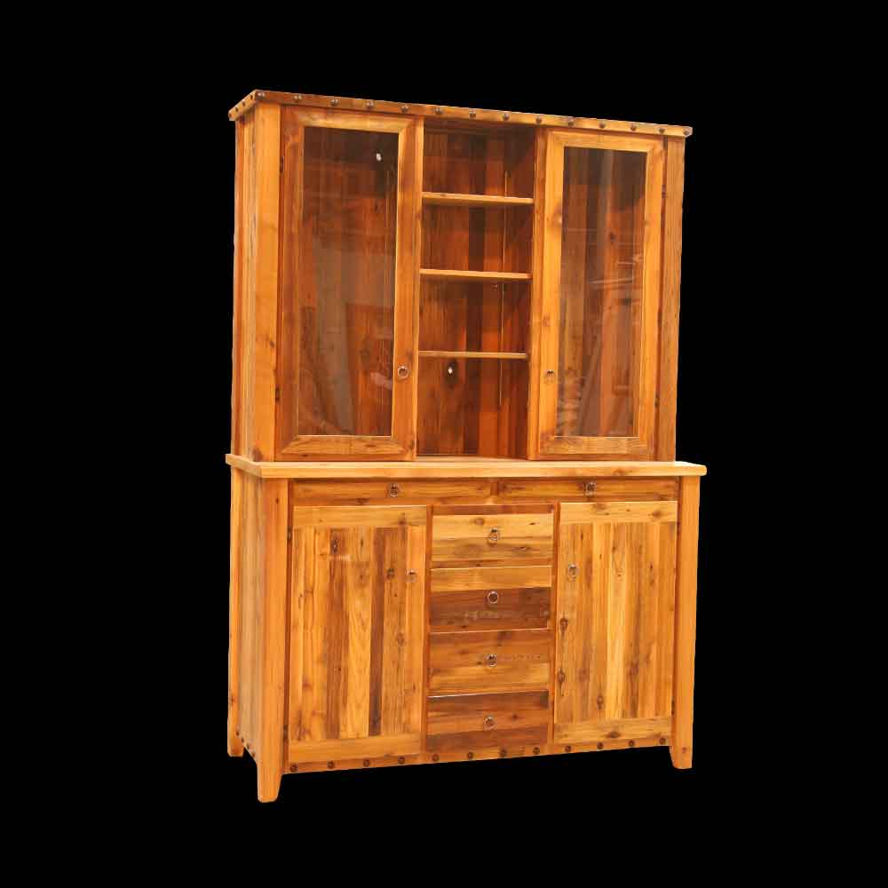 Barnwood Double Hutch with Glass Doors