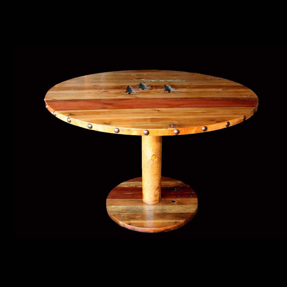 Round Barnwood Table with Carvings and Nailheads