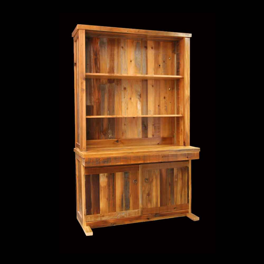 Open Barnwood Hutch with Writing Desk