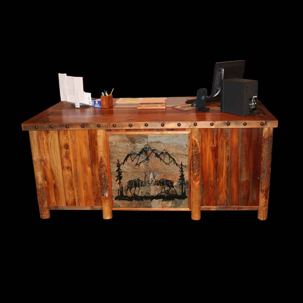 Barnwood Desk with Tile Insert and Nailheads - Front