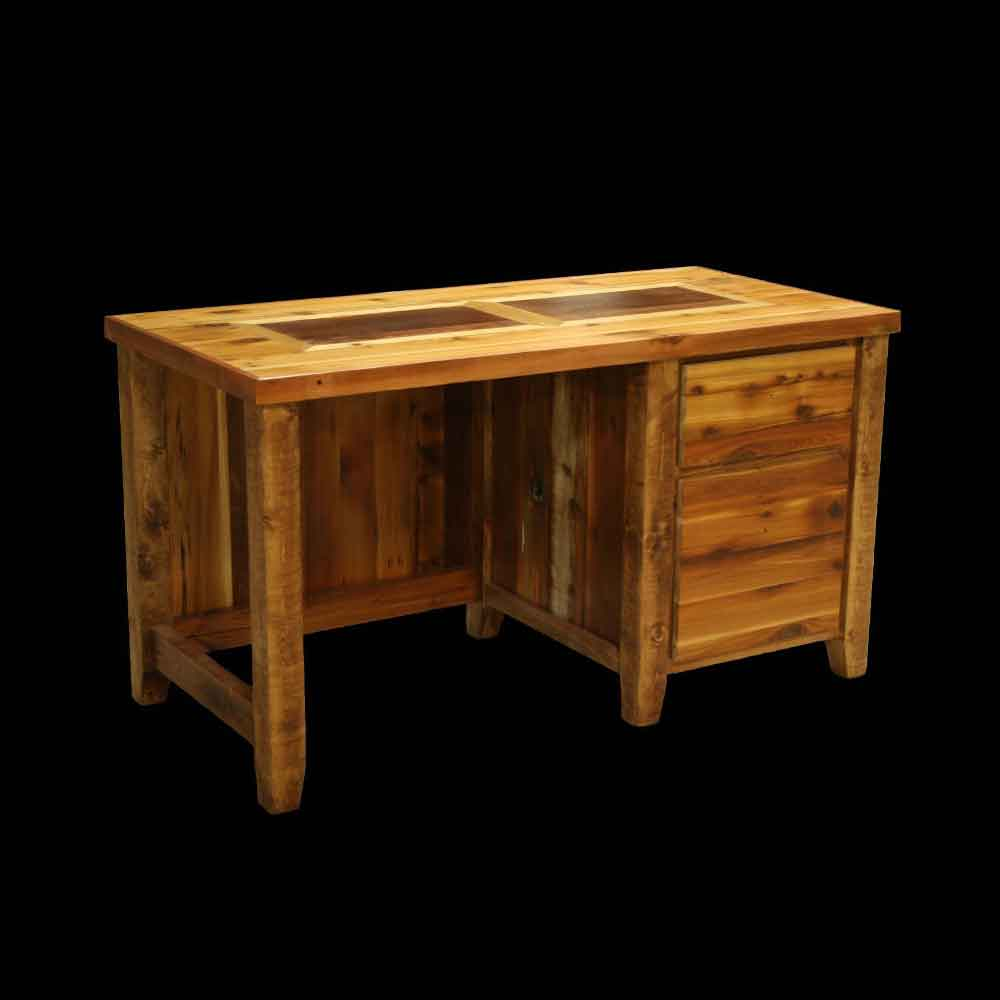 Barnwood Closed Student Desk with Top Inlay