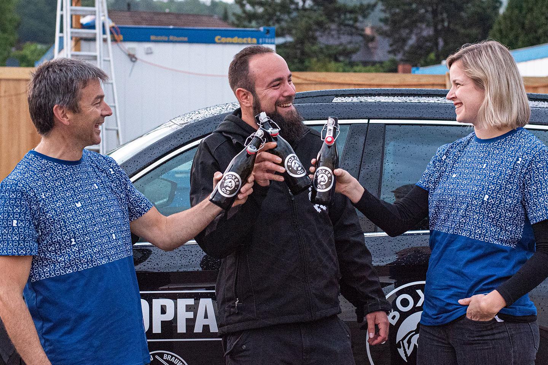 Von links nach rechts: Marco Hug (Leiter Gastronomie RMS 2020), David Hug (Projektleiter Events und Messen Doppelleu Boxer), Michelle Walder (OK-Präsidentin RMS 2020)