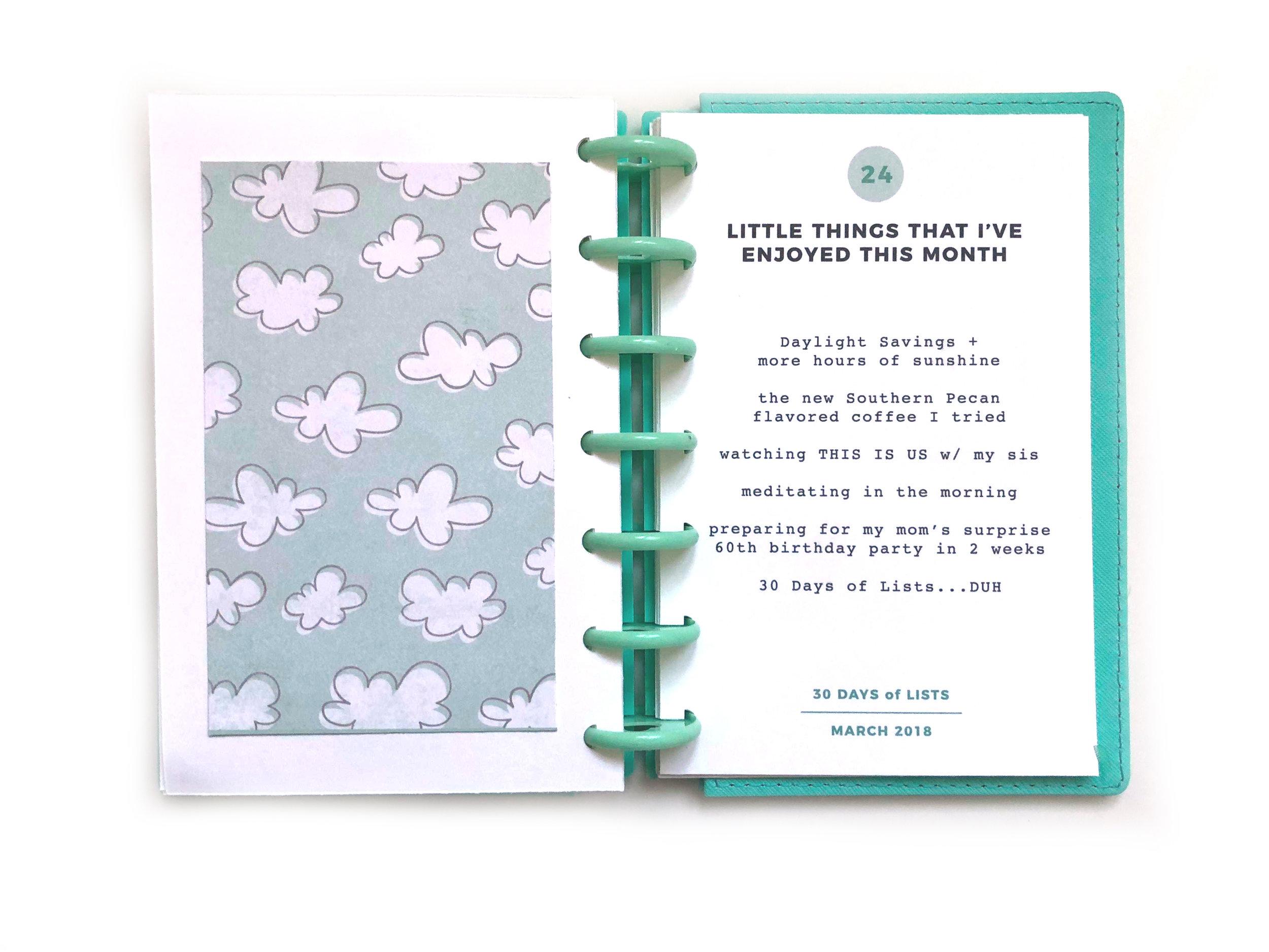30 Days fo Lists // March 2018 in my mini mint Happy Planner™ | Amanda Zampelli