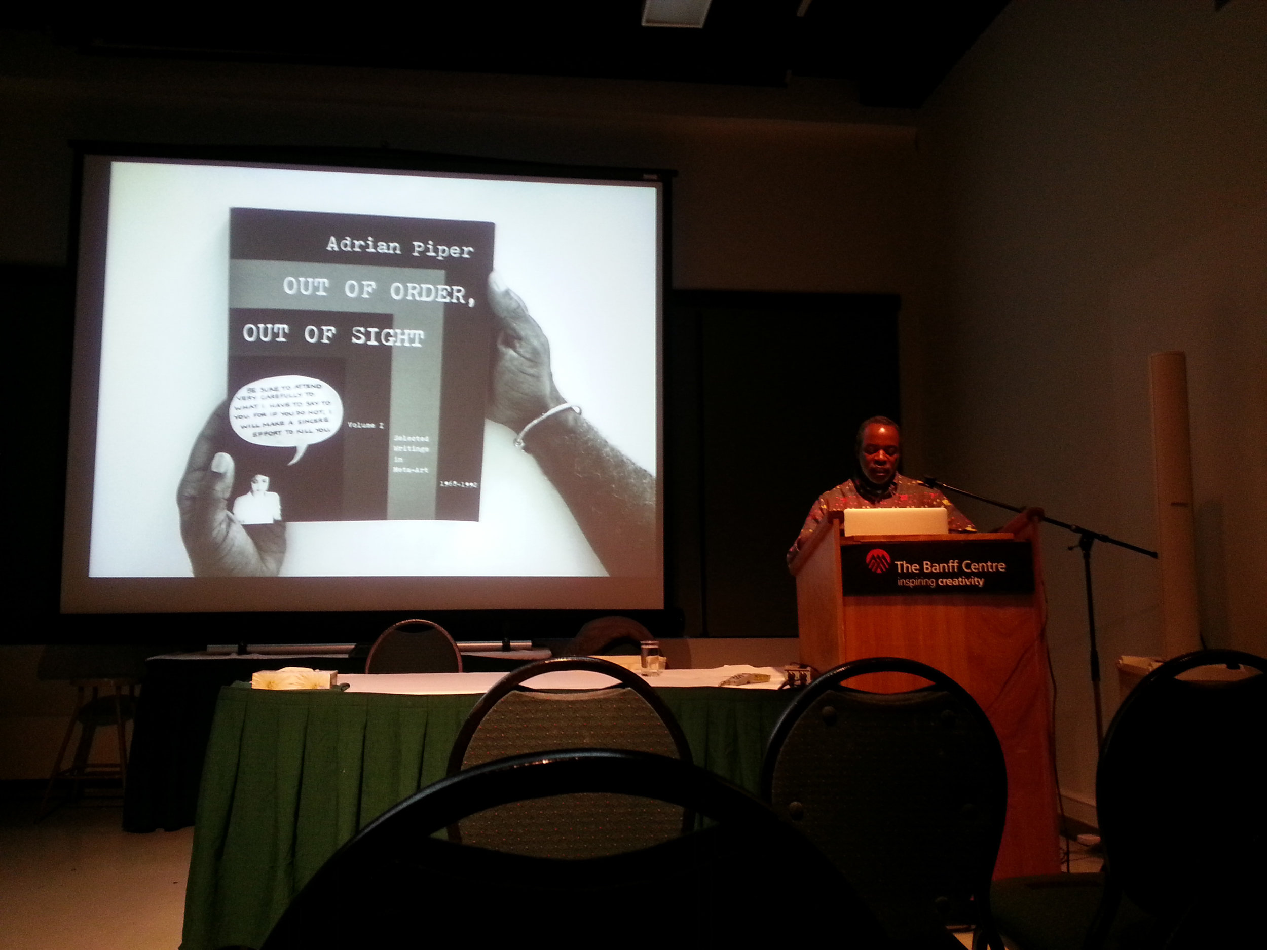 Arnold Joseph Kemp lecturing at the Banff Centre in Alberta, 2014
