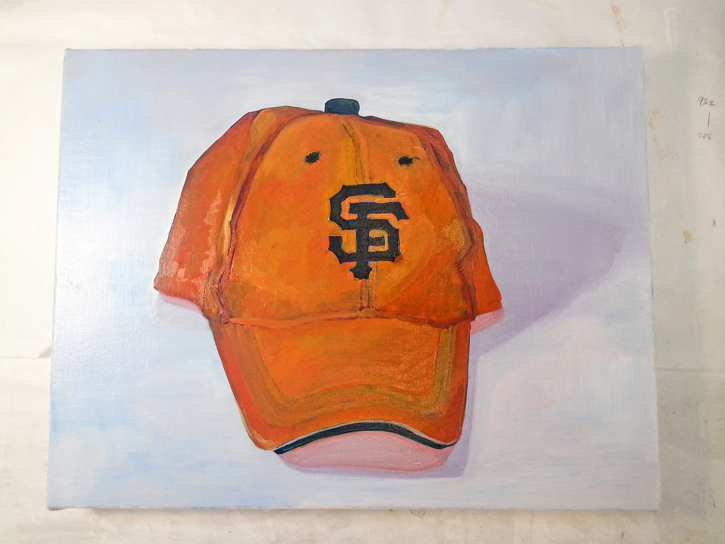 Redneck cap? // 18″ x 24″ // oil on canvas // 2014 // A code for two homes: cheering the Giants in San Francisco and the blaze orange of the Virginia hunting season.