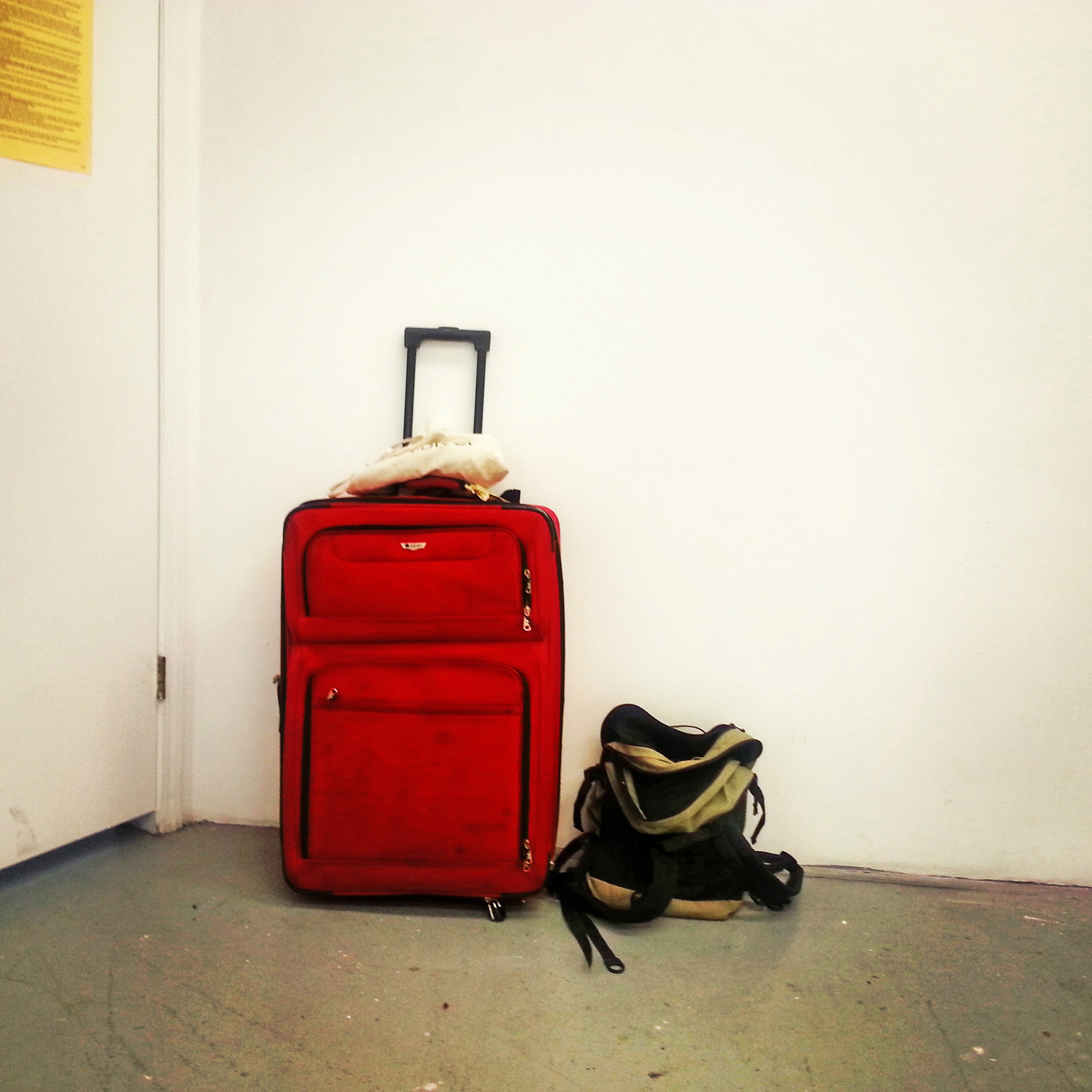 My suitcase has been sitting in the corner of my studio. It feels apropos.