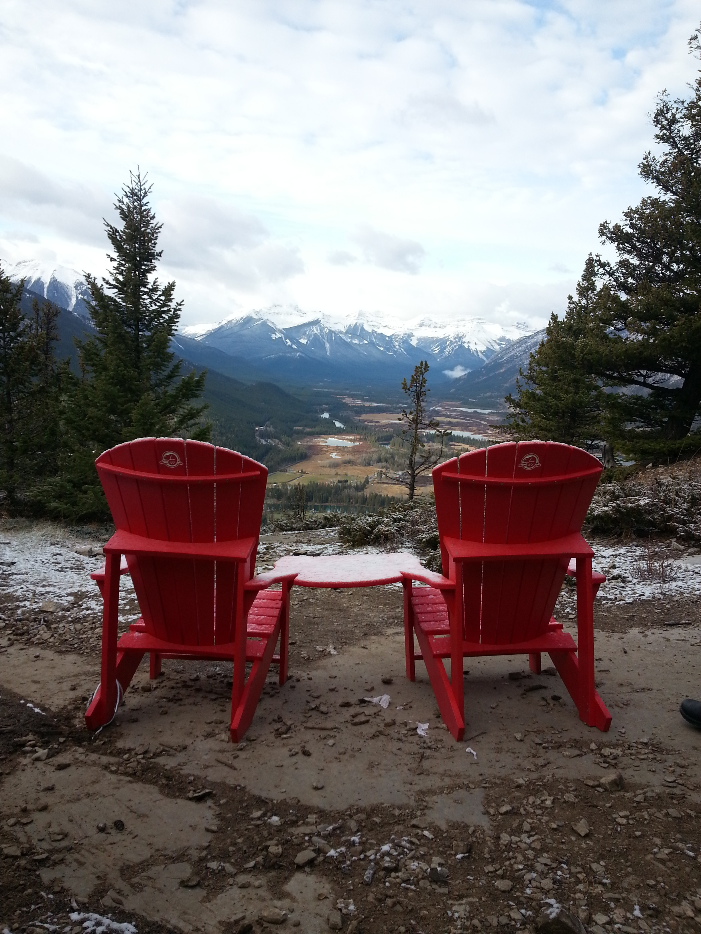 Adorable red chairs atop Tunnel Mountain, looking east